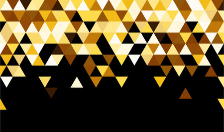 contrasty: Black abstract background with yellow triangles. Vector illustration.