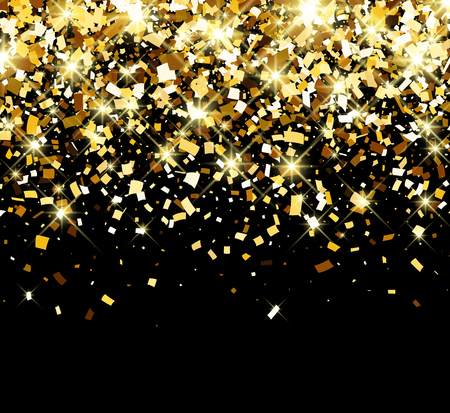 contrasty: Black festive background with golden confetti. Vector illustration.