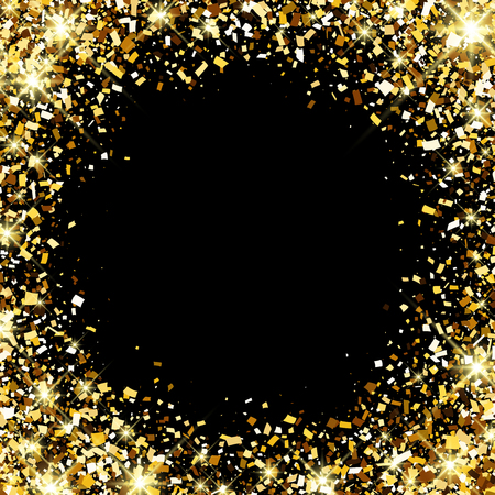festive background: Black festive background with golden confetti. Vector illustration.
