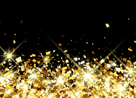 Black festive background with golden confetti. Vector illustration.