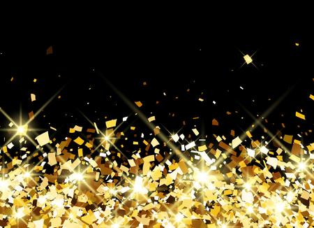 Zwarte feestelijke achtergrond met gouden confetti. Vector illustratie.