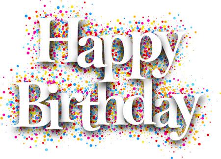 Szczęśliwa karta urodzinowa z kroplami kolorów. Ilustracji wektorowych. Ilustracje wektorowe