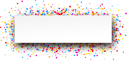 contrasty: White banner with color drops. Vector illustration.