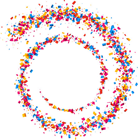 White abstract background with spiral of color confetti. Vector illustration. Stock Illustratie