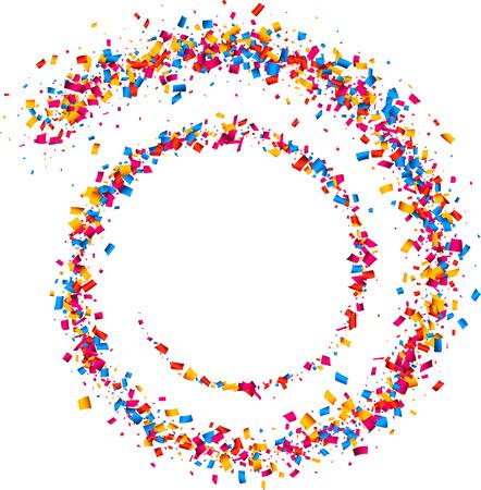 Witte achtergrond met spiraal van kleur confetti. Vector illustratie.