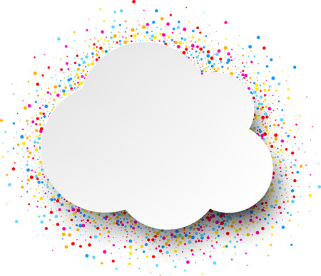 contrasty: White cloud background with color drops. Vector illustration. Illustration