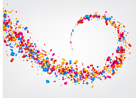 White abstract background with color confetti. Vector illustration. Иллюстрация