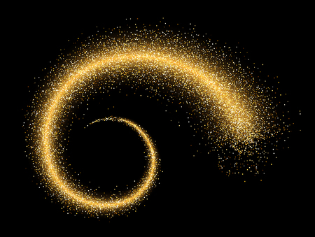 Black absrtact background with shining spiral. Vector illustration.