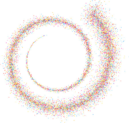 color drops: White paper background with spiral of color drops. Vector illustration. Illustration