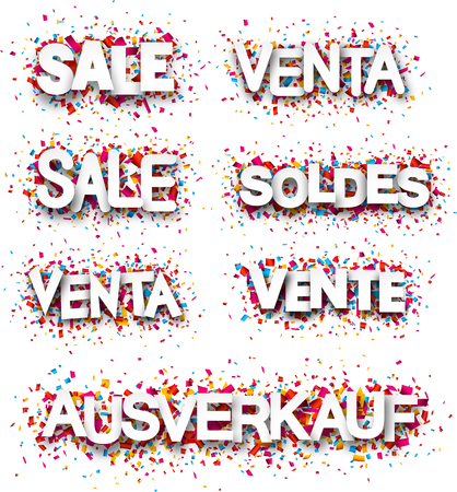white poster: Sale paper white banners, Spanish, French, German. Vector illustration.