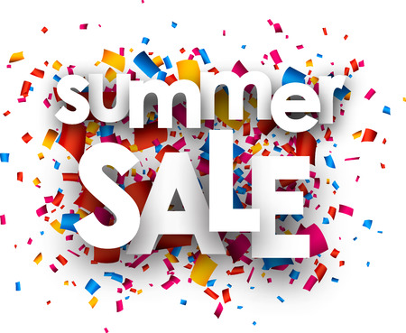 Summer sale paper white background with color confetti. Vector illustration.