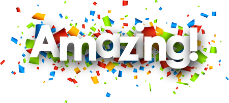 Amazing paper background with color confetti. Vector illustration.