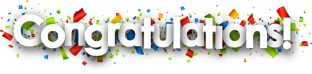 vector banner: Congratulations paper banner with color confetti. Vector illustration.