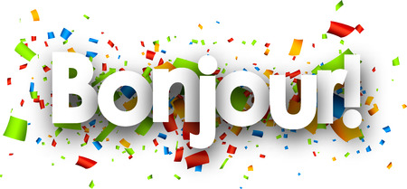 opening party: Hello paper background with color confetti. Vector illustration.