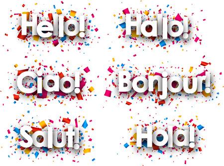 hola: Hello paper background, Italian, Spanish, French, German, Catalan. Vector illustration.