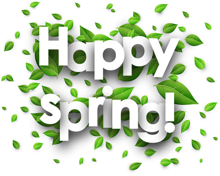 green paper: Happy spring paper background with fresh green leaves. Vector illustration.