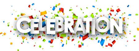 mirth: Celebration paper banner with color confetti. Vector illustration.