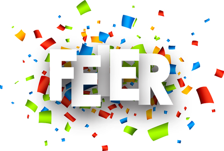 mirth: Celebration paper background with color confetti, German. Vector illustration.