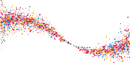 white wave: White paper background with wave of color confetti. Vector illustration.