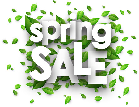 Spring sale paper white background with green leaves. Vector illustration.