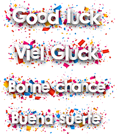 good luck: Good luck paper backgrounds, Spanish, French, German. Vector illustration. Illustration