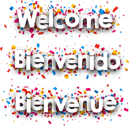 bienvenido: Welcome white paper banner with confetti, Spanish, French. Vector illustration.