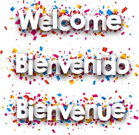 Willkommen weißes Papier Banner mit Konfetti, Spanisch, Französisch. Vektor-Illustration.