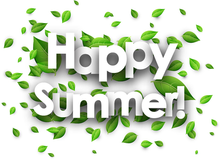 green paper: Happy summer paper background with fresh green leaves. Vector illustration.