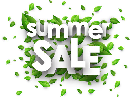 happy shopper: Summer sale paper white background with green leaves. Vector illustration. Illustration