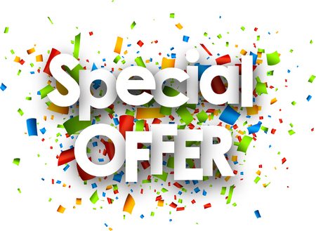 Special offer paper white background with color confetti. Vector illustration. Vectores