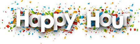 hour: Happy hour paper banner with color confetti. Vector illustration.