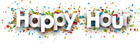 Happy hour papier banner met kleur confetti. Vector illustratie. Stockfoto - 54968726