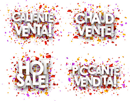 hot sale: Hot sale paper backgrounds set, French, Spanish, Italian. Vector illustration.