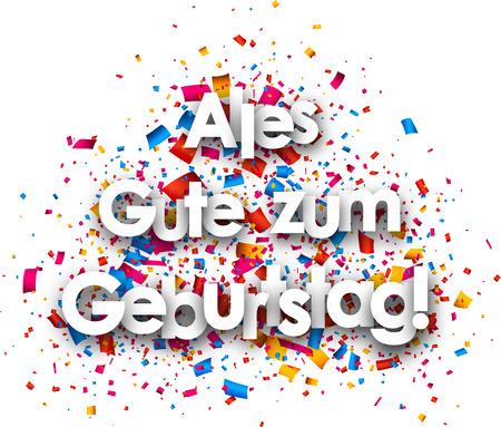Alles Gute zum Geburtstag Papierkarte mit Farbe Konfetti, Deutsch. Vektor-Illustration.