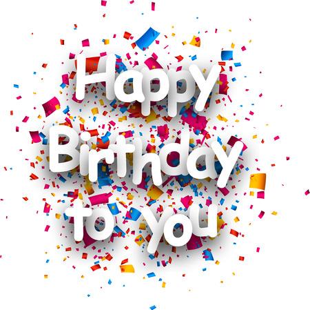 Cumpleaños de la tarjeta de papel con confeti. Ilustración del vector.