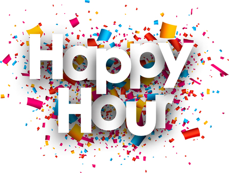 Happy hour paper background with color confetti. Vector illustration.