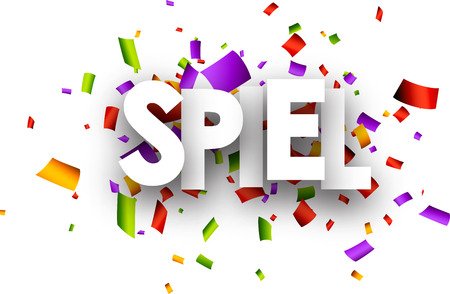 spiel: White clearance paper banner with color confetti, German. Vector illustration. Illustration