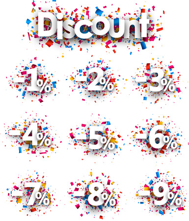 Number 4: Discount signs paper set with numbers and percent. Vector illustration.