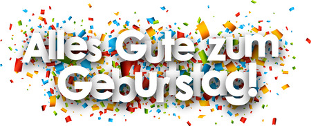 Happy birthday paper banner with color confetti, German. Vector illustration.