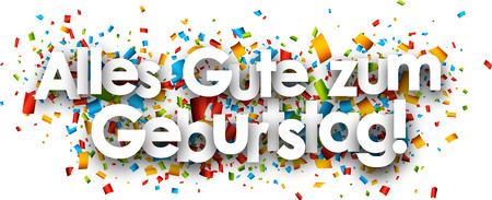 Wszystkiego najlepszego z okazji urodzinowy papier transparentu z konfetti kolorowych, niemiecki. Ilustracji wektorowych. Ilustracje wektorowe