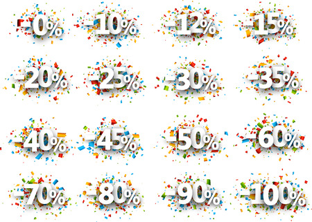 one hundred and ten: Paper signs set with numbers, percent and confetti. Vector illustration.