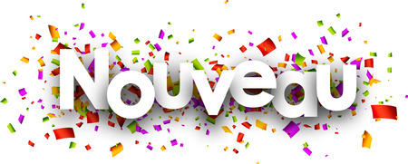 papier a lettre: Nouvelle bannière de papier avec des confettis de couleur, français. Vector illustration.