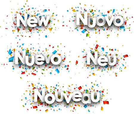 novelty: New paper banners, Italian, Spanish, German, French. Vector illustration. Illustration