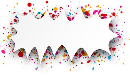 replica: Paper figured white background with color confetti. Vector illustration. Illustration