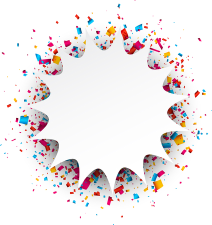colorful frame: Paper figured white background with color confetti. Vector illustration. Illustration