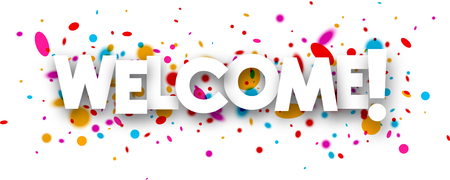 Welcome paper banner with color drops. Vector illustration.