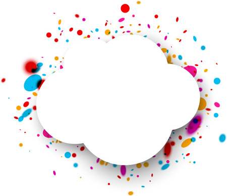 color drops: White paper cloud background with color drops. Vector illustration. Illustration
