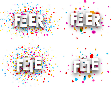mirth: Celebration paper banners with color drops, German, French. Vector illustration.