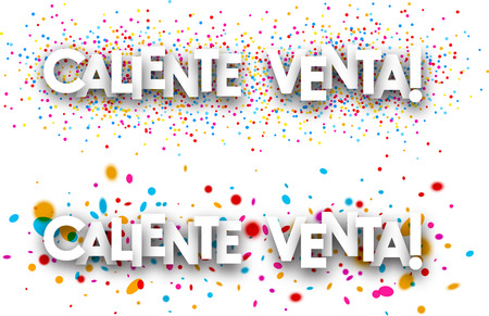 hot sale: Hot sale paper banners with color drops, Spanish. Vector illustration. Illustration