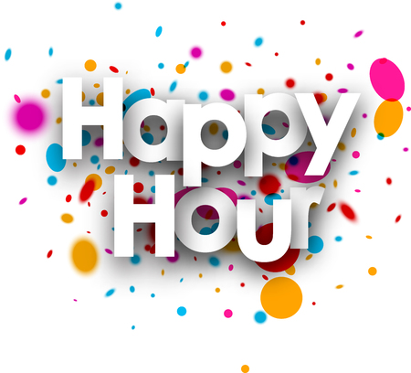 happy hour: Happy hour paper card with color drops. Vector illustration. Illustration